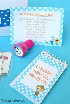 Octonauts Birthday Party Favor Ideas -- DIY Note Pad Free Printable Party Favor
