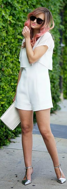 Intermix White Tailored Romper by Late Afternoon