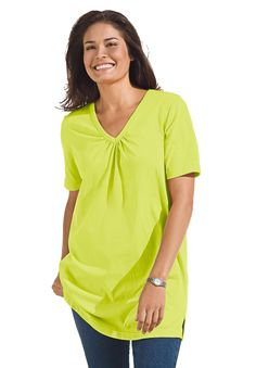 Wild Lime Plus Size Cotton V-neck Tunic