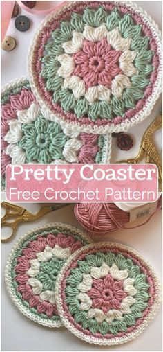 Crochet Pretty Coaster Pattern - DIY and Crafts Crochet Kitchen, Crochet Home, Crochet Crafts, Crochet Projects, Free Crochet, Sewing Projects, Crochet Coaster Pattern Free, Gilet Crochet, Crochet Granny