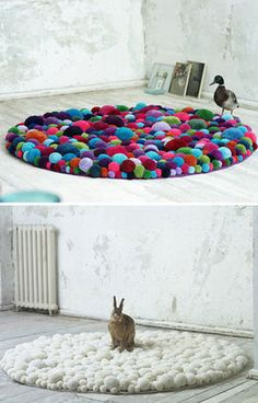 Que faire avec des pompons ?un tapis poof round rugs made of pompoms:-) What a cute hackable way to use up little end bits of yarn! I would just stitch them down to cross-stitch fabric and then add an underlay. Yarn Crafts, Diy Crafts, Pom Pom Rug, Cross Stitch Fabric, Round Rugs, Home And Deco, Modern Rugs, Modern Homes, Contemporary Rugs