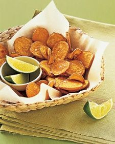 Baked Sweet-Potato Chips: 2 medium sweet potatoes, scrubbed and sliced 1/8 inch thick 1 tablespoon extra-virgin olive oil 1/2 teaspoon coarse salt, preferably sea salt 1 lime, cut into wedges, for serving Preheat oven to 400 degrees, with racks in center and lower positions. Divide sweet potatoes between 2 rimmed baking sheets. Drizzle with oil, toss, and spread them in a single layer on sheets. Bake, flipping once, until centers are soft and edges are crisp, 22 to 25 minutes. Sprinkle with…