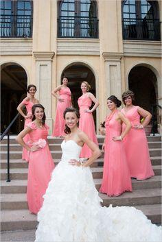long pink bridesmaids dresses #pink #bridesmaids #weddingchicks http://www.weddingchicks.com/2014/04/07/playful-pink-and-navy-wedding/