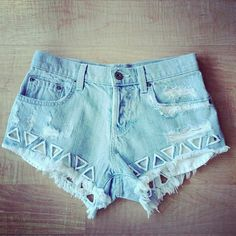 Triangle cutout shorts. I really like how the cut outs are sewed around the edges.