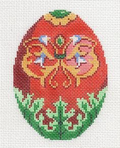 Lee Jeweled Egg Greens Red Orange Butterfly Handpainted Needlepoint Canvas | eBay - $32