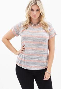 Striped Knit Tee #F21Plus