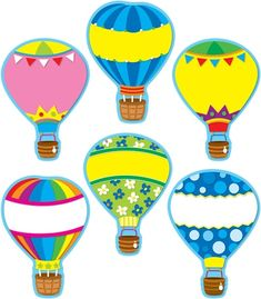 Carson Dellosa Hot Air Balloons Cut-outs Classroom Decor Themes, Hot Air Balloon Classroom Theme, Hot Air Balloon Clipart, Cubby Tags, Small Balloons, Birthday Charts, School Murals, Air Ballon, Transportation Theme