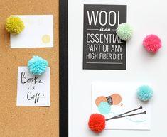 One Sheepish Girl | Pom-Pom Magnets and Pushpins