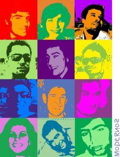 MODERNOS - Trabalho de grupo (LSD) propondo a realização de uma T-Shirt para a turma, com base nas serigrafias de Marylin Monroe, da autoria de Andy Warhol. A apropriação deste exemplo baseia-se na utilização de fotografias de todos os elementos da turma, e numa apresentação destas em ''alto contraste'', ao qual foram atribuídas cores distintas ao claro e ao escuro (com base nos estudos de relação entre cores de Andy Warhol). (Mário Afonso)