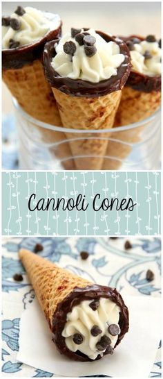 Cannoli Cones - An easy shortcut for your favorite dessert! Traditional ricotta filling is stuffed into sugar cones! Beaux Desserts, Mini Desserts, Just Desserts, Delicious Desserts, Dessert Recipes, Easy Italian Desserts, Impressive Desserts, Potluck Desserts, Potluck Recipes