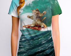 Surfs Up Pizza Cat (GT4303-288SUB) Women's T-shirt. Funny tees, cats, pizza, surfing, waves, cat lover, pizza lover, beach, foodie, cat tees