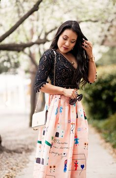 cute & little blog | petite fashion | zappos for love & lemons lace crop top, pink midi skirt, steve madden stecy, tory burch white crossbody | spring outfit #ZapposStyle