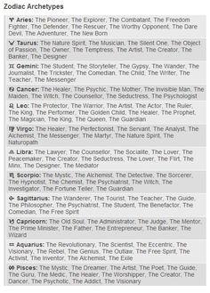 Zodiac Archetypes http://astrolocherry.tumblr.com/post/74886220185/zodiac-archetypes