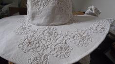 Chapeau style capeline en lin et dentelles blanches : Chapeau, bonnet par annbcreation