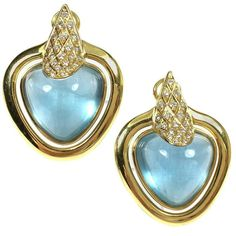 For Sale on - yellow gold one-of-a-kind large aquamarine cabochon and diamond earrings. Each earring features an approximately aquamarine set yellow gold bezels, 18k Gold Earrings, Drop Earrings, Key To My Heart, Buy And Sell, Handmade, Stuff To Buy, Accessories, Vintage, Jewelry