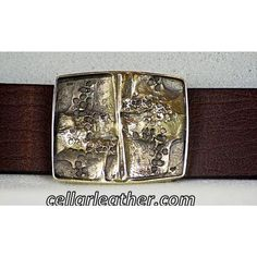 Unique Belt with Abstract Handmade #11 Buckle from Cellar Leather on Cape Cod