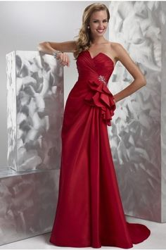 Affordable Sweep Train Sheath Strapless Sleeveless Satin Evening Dresses