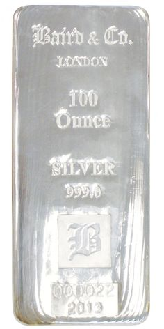 Baird 100 Troy Oz Silver Bullion Bar