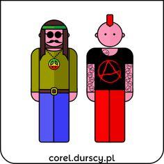Hipis vs. Punk #corel_durscy_pl #durskirysuje #corel #coreldraw #vector #vectorart #illustration #creative #creativity #visualart #visualdesign #graphicdesign #art #digitalart #graphics #flatdesign #artist #inspiration #hipis #punk #anarchy #peace #people #flowers Coreldraw, Anarchy, Flat Design, Vector Art, Digital Art, Creativity, Punk, Peace, Graphics