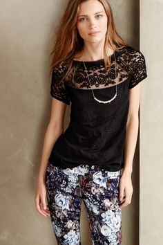 Lacey tee, floral pants, necklace #anthrolove