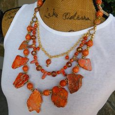 It's NEVER too early to start shopping for Christmas!  Check out my 20% OFF Sale!!!! Use Code: XMAS20  Orange Jasper Slab Multi-Strand Statement Necklace with the Iris Apfel Wow Factor!