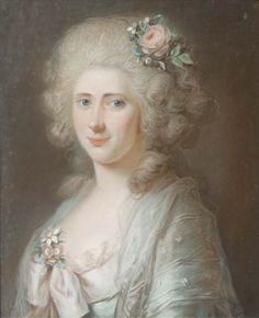German School, late 18th Century. Portrait of Sophie Friederike Luise, Countess von Wylich-Lottum, née Lamprecht (1772-1841), bust-length, in a light green dress, a lace chemise, a shawl of voile, and flowers in her hair