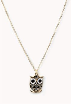 Lacquered Owl Charm Necklace   FOREVER21 - 1072379703