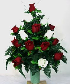 Valentine' Day Red And White Roses Cemetery Flowers for a 3 Inch Vase, $32.99