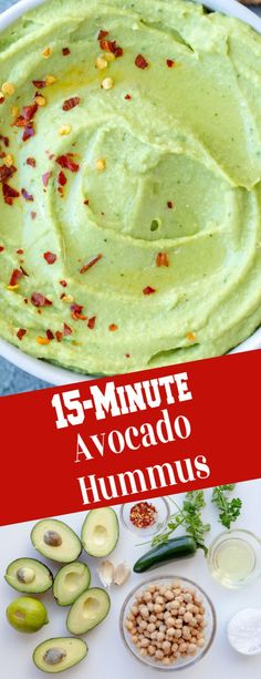 A simple avocado hummus dip, that can pair with any toast, or movie night snack, this is great with fresh veggies. Healthy Dip Recipes, Easy Appetizer Recipes, Avocado Recipes, Yummy Appetizers, Brunch Recipes, Healthy Snacks, Snack Recipes, Asian Recipes, Free Recipes