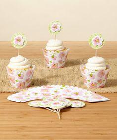 Look what I found on #zulily! Kathy Davis Warm Floral Party Pick & Cupcake Wrapper Set #zulilyfinds