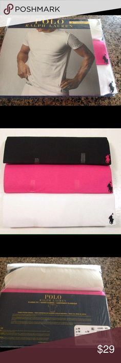 Polo Ralph Lauren Classic Fit T-Shirt M 3 PK Polo Ralph Lauren Classic Fit T-Shirt M 3 pack   Black, white, pink  3 pack give for Valentines   Please see my other items adding everyday  Fast shipping Ralph Lauren Tops Tees - Short Sleeve
