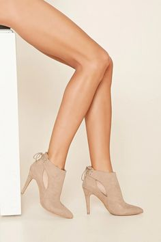 A pair of faux suede ankle booties with a stiletto heel #stepitup