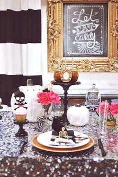 14 Spooky Chic Halloween Table Setting Ideas via Brit + Co