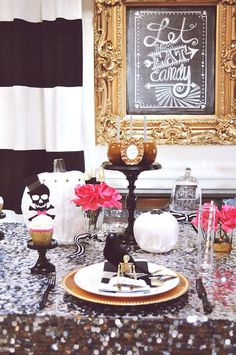 14 Spooky Chic Halloween Table Setting Ideas via Brit + Co