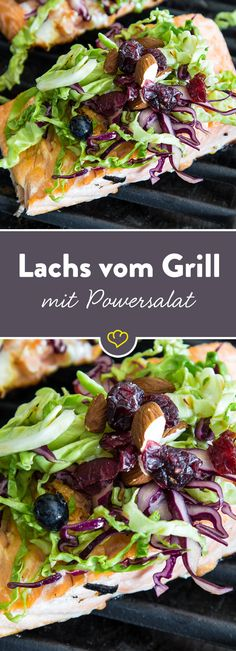 Das Lachsfilet wird außen knusprig und innen saftig gegrillt. Der Salat aus Spitz- und Rotkohl mit Blaubeeren zaubert die nötige Frische auf den Teller.