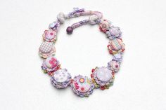 Pastel crochet necklace with fabric buttons by rRradionica on Etsy, $87.00