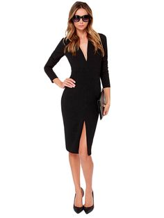 Sexy Deep V Neck Long Sleeve Solid Women Dresses