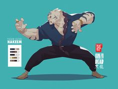 ArtStation - Kung Fu is Dead (character concepts), Malcolm Wopé Character Concept, Character Art, Concept Art, Dnd Characters, Fantasy Characters, Drawing Reference Poses, Art Reference, Fighting Poses, Tiger Art