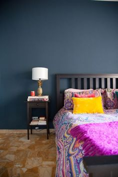 Bedroom Prussian Blue Walls Rooms Interior Styling