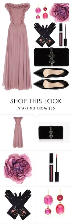 """""""Ball dance party at the museum hall"""" by ayiarundhati ❤ liked on Polyvore featuring Elie Saab, Dsquared2, Gucci, Christian Dior and Renee Lewis"""
