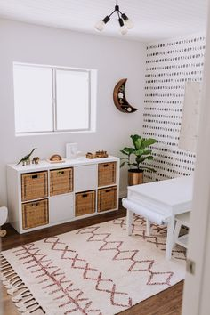 boho kid playroom decor with toy storage and activity table, kid room decor with play table, boho rug and kid room wallpaper, girl room decor, boy room decor Playroom Design, Playroom Decor, Playroom Ideas, Kid Playroom, Playroom Organization, Modern Playroom, Decor Room, Living Room Playroom, Playroom Table