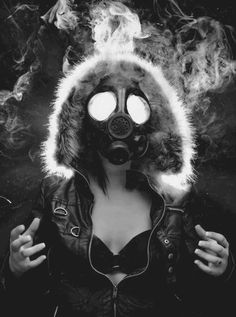 Smoke, Gas Mask , Girl , Black & White , Black and White , Grey Scale