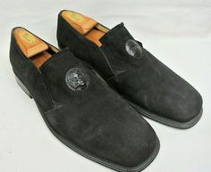 286799d7bfd Olivier Nordstrom Black Suede Italian Loafers with Leather Medallion - Men s  11  NordstromOlivier  LoafersSlipOns