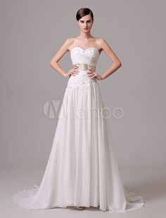 Mariage Ivoire robe bustier fleurs Sash broderie robe de mariée en mousseline de soie - Milanoo.com