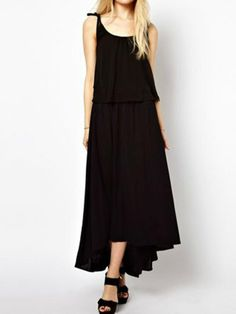 Black Chiffon Irregularity Long Dress - Fashion Clothing, Latest Street Fashion At Abaday.com