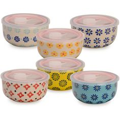Amazon.com: Signature Housewares 3-Pattern Storage Bowls with Lids, 6-Inch, Assorted, Set of 6: Kitchen & Dining