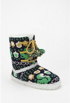 WANT! Green Squirrel Lace-Up Fair Isle Sweater Slipper #UrbanOutfitters