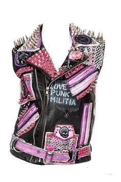Chica Punk, Punk Jackets, Battle Jacket, Punk Outfits, Fashion Project, Punk Fashion, Lady Gaga, Diy Clothes, Leather Jacket