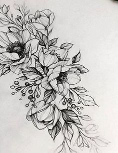 29 ideas for flowers tattoo designs Tattoo Sketches, Tattoo Drawings, Body Art Tattoos, Small Tattoos, Sleeve Tattoos, Flower Drawings, Drawing Flowers, Flower Design Drawing, Tatoos