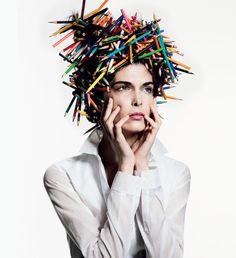 Kristina Salinovic evokes multiple personas for Tim Barber's (Weber Represents) expressive studio images featured in the spring issue of Muse Magazine Fashion Art, Fashion Beauty, Weird Fashion, Tim Barber, Muse Magazine, Costume Carnaval, Avant Garde Hair, Crazy Hats, Crazy Hair Days